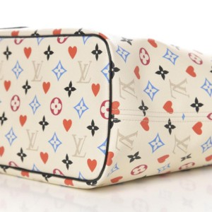 Louis Vuitton White Game On Monogram Neverfull MM with Pouch 861869