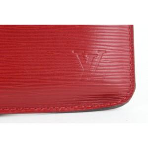 Louis Vuitton Red Epi Leather Neverfull Pochette Wristlet Pouch Bag 271lvs512