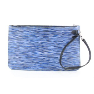 Louis Vuitton Blue Denim Epi Leather Neverfull Pochette MM/GM Wristlet Bag 492lvs34