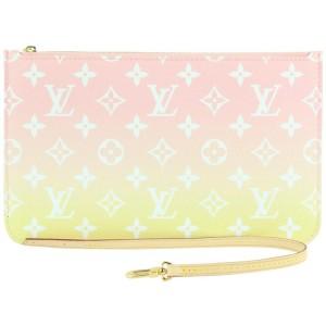 Louis Vuitton Pink Monogram By the Pool Neverfull Pochette Wristlet Pouch 940lvs415