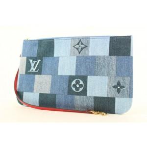 Louis Vuitton Denim Patchwork Neverfull Pochette Wristlet Bag