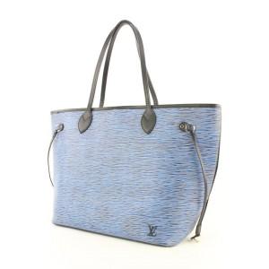 Louis Vuitton Blue Denim Epi Neverfull MM Tote bag 491lvs34
