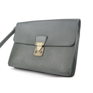 Louis Vuitton Pochette Belaia 8lk1129 Green Taiga Leather Wristlet