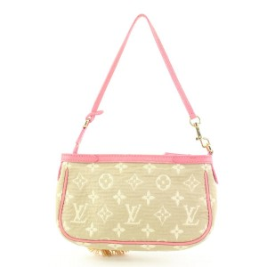 Louis Vuitton Pink x Beige Monogram Sabbia Cabas Pochette Accessories Bag 858933
