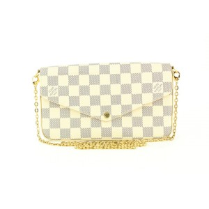Louis Vuitton Damier Azur Felicie Crossbody Chain Bag 1lv858
