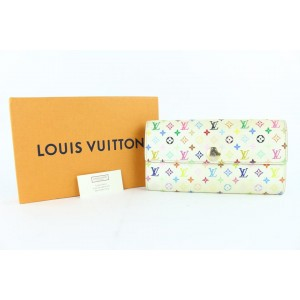 Louis Vuitton Long Wallet Tresor Porte Multicolor Blanc Sarah 7lz0116 White Coated Canvas Clutch