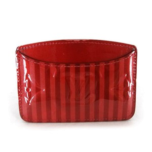 Louis Vuitton Red Vernis Rayures Card Case 220058 Wallet