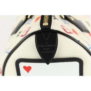 Louis Vuitton Poker Game On Multicolor White Speedy Bandouliere 25 Strap 3LVS129