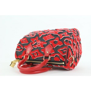 Louis Vuitton Rare LVxUF Urs Fischer Red Monogram Speedy Bandouliere 25 Bag 15lvs120