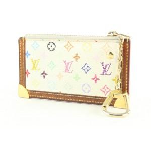 Louis Vuitton White Multicolor Key Pouch Pochette Cles Keychain 2lvs421