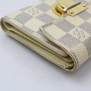 Louis Vuitton White Koala Damier Azur Compact 871090 Wallet