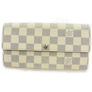 Louis Vuitton Damier Azur Sarah Long Wallet Portefeuille Tresor 862200