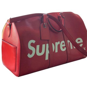 Louis Vuitton x Supreme Keepall Bandouliere 45 with Strap X333 Red Epi Leather Weekend/Travel Bag