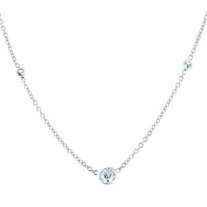 Blue Nile 18K White Gold Diamond Solitaire Pendant and Chain