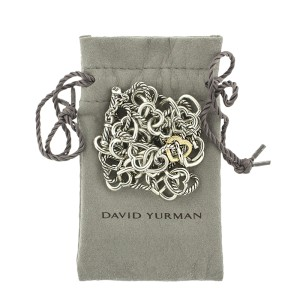 David Yurman 18K Yellow Gold and  Sterling Silver Heart Cable Linked Chain Necklace