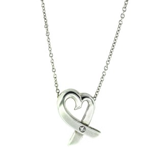 Tiffany & Co. Diamond Open Heart Necklace With Chain