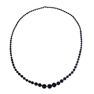 Victorian Frosted Jet Bead Necklace