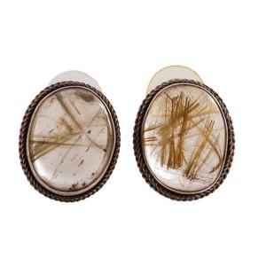 Rutilated Quartz Cabochon Earrings