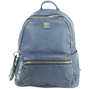 MCM 20mk1230 Lush Tumbler Blue Leather Backpack