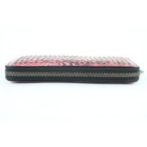 MCM Armour Visetos Monogram Studded Python Print Zip Around Wallet 231939 Pink Coated Canvas Clutch