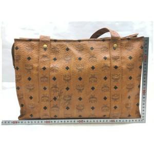 MCM Cognac Monogram Visetos Shopper Tote Bag  861777