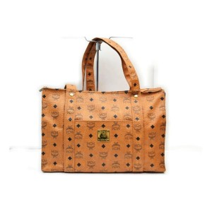 MCM Cognac Monogram Visetos Shopper Tote Bag  862371