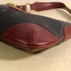 MCM Hobo Bordeaux/Black Bicolor Monogram Visetos 869869 Black Nylon Shoulder Bag