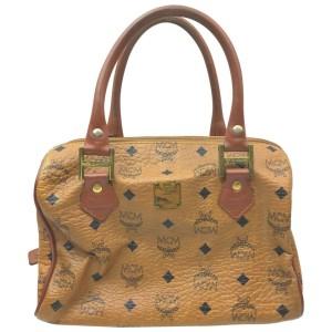 MCM Cognac Monogram Visetos Boston Bag  862336