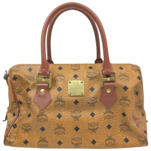 MCM Cognac Monogram Visetos Boston Bag 863073