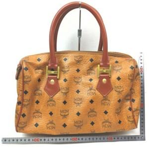 MCM Cognac Monogram Visetos Boston Bag 863128