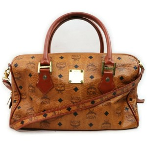MCM Cognac Monogram Visetos Boston Bag with Strap 862278
