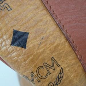 MCM Boston Cognac Monogram Visetos 872542 Brown Coated Canvas Satchel