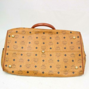 MCM Boston Pvc 871066 Brown Coated Canvas Weekend/Travel Bag
