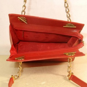 MCM Chain Tote 869873 Red Leather Shoulder Bag