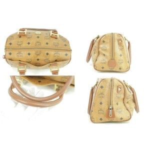MCM Cognac Monogam Visetos Boston 230688 Brown Coated Canvas Satchel