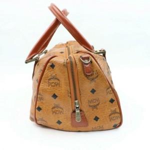 MCM Cognac Monogram Visetos Bostin 870493 Brown Leather Satchel