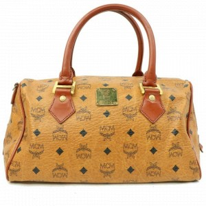 MCM Cognac Monogram Visetos Boston 870307 Brown Canvas Satchel