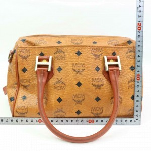 MCM Cognac Monogram Visetos Boston 870312 Brown Coated Canvas Satchel
