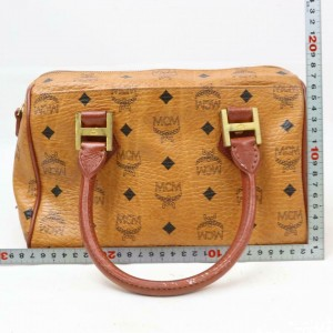 MCM Cognac Monogram Visetos Boston 870825 Brown Coated Canvas Satchel