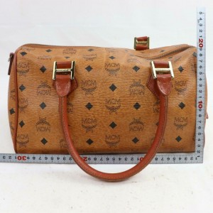 MCM Cognac Monogram Visetos Boston 870972 Brown Coated Canvas Weekend/Travel Bag