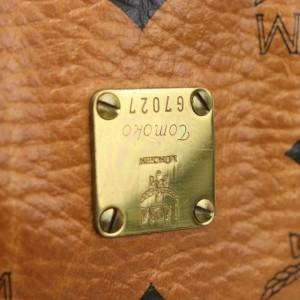 MCM Cognac Monogram Visetos Boston 871075 Brown Coated Canvas Satchel
