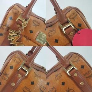 MCM Cognac Monogram Visetos Boston with Charm 867551 Brown Coated Canvas Satchel