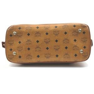 MCM Cognac Monogram Visetos Bowler Boston with Strap 861725