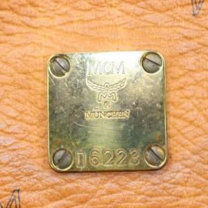 MCM Cognac Monogram Visetos Boston with Strap 870701 Brown Coated Canvas Satchel