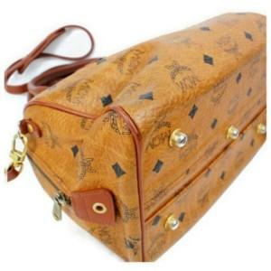 MCM Cognac Monogram Visetos Boston with Strap 872804 Brown Coated Canvas Shoulder Bag