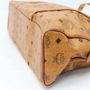 MCM Cognac Monogram Visetos Dome Zip Tote 870050 Brown Coated Canvas Shoulder Bag