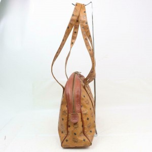 MCM Cognac Monogram Visetos Dome Zip Tote 870733 Brown Coated Canvas Shoulder Bag