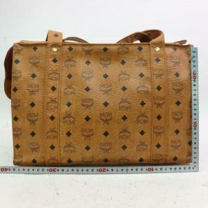 MCM Cognac Monogram Visetos Long Strap Tote 870491 Brown Canvas Shoulder Bag