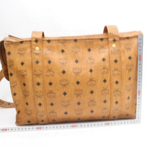 MCM Cognac Monogram Visetos Shopper Tote 869752 Brown Coated Canvas Shoulder Bag