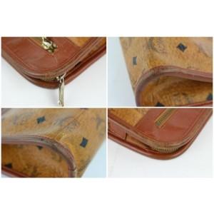 MCM Cognac Monogram Visetos Zip Pouch 230710 Brown Coated Canvas Wristlet
